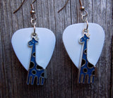 Blue Giraffe Charm Guitar Pick Earrings - Pick Your Color