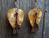 Brown Giraffe Charm Guitar Pick Earrings - Pick Your Color