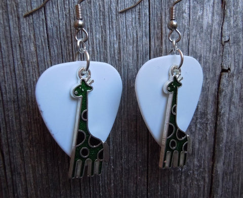 Green Giraffe Charm Guitar Pick Earrings - Pick Your Color
