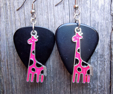 Pink Giraffe Charm Guitar Pick Earrings - Pick Your Color
