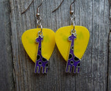 Purple Giraffe Charm Guitar Pick Earrings - Pick Your Color