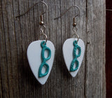 Teal Glasses Charms Guitar Pick Earrings - Pick Your Color