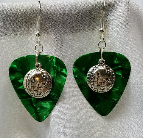 Globe Charm Guitar Pick Earrings - Pick Your Color