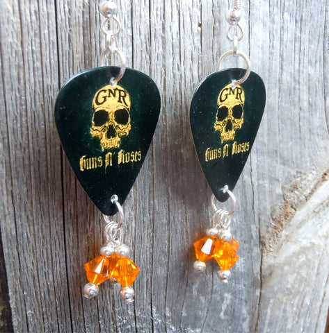 Guns n Roses Orange Skull Guitar Pick Earrings with Orange Crystal Dangles