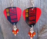 Guns n Roses Use Your Illusion Guitar Pick Earrings with Fire Opal Crystal Dangles