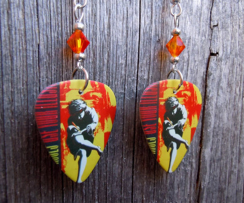 Guns n Roses Use Your Illusion I Guitar Pick Earrings with Fire Opal Swarovski Crystals