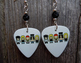 Guns n Roses Cartoons Guitar Pick Earrings with Black Pave Beads