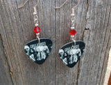 Guns n Roses Group Picture Guitar Pick Earrings with Red Swarovski Crystals