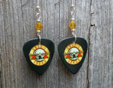 Guns n Roses Logo Guitar Pick Earrings with Yellow Swarovski Crystals