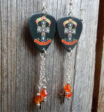 Guns n Roses Appetite For Destruction Guitar Pick Earrings with Cross Charm and Fire Opal Swarovski Crystal Dangles