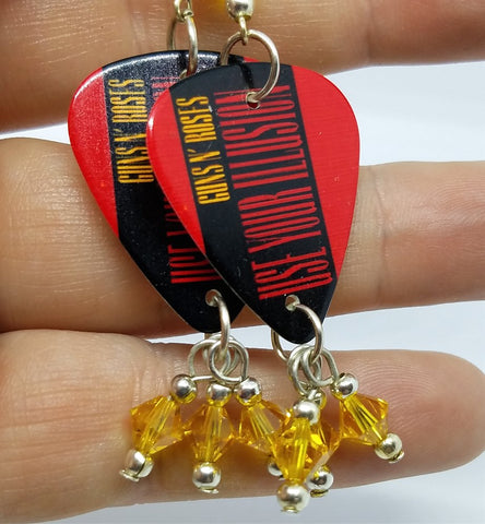 Guns n Roses Use Your Illusion Guitar Pick Earrings with Yellow Swarovski Crystals