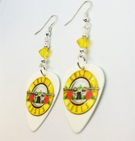 Guns n Roses Logo White Guitar Pick Earrings with Yellow Swarovski Crystals