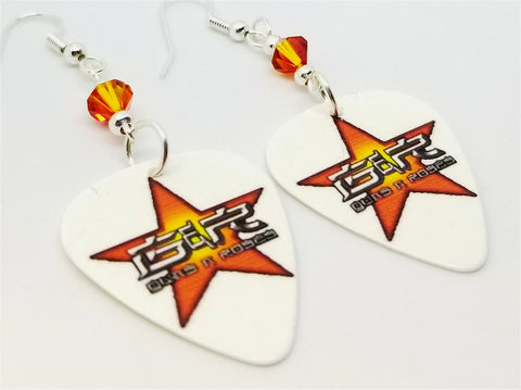 The Very Best of Guns n Roses Guitar Pick Earrings with Fire Opal Swarovski Crystals