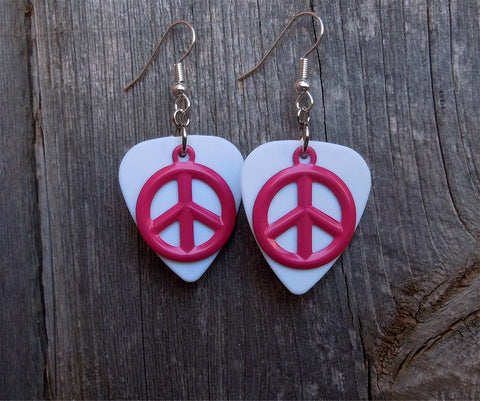 Pink Peace Sign Charm Guitar Pick Earrings - Pick Your Color