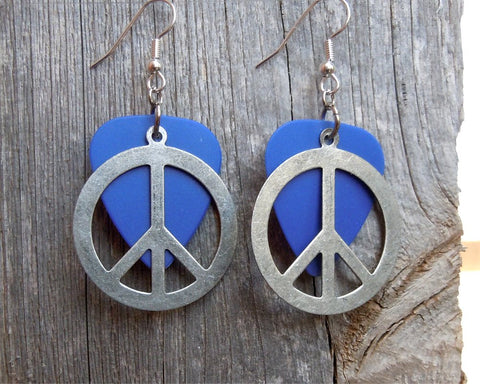 Large Silver Peace Sign Charm Guitar Pick Earrings - Pick Your Color