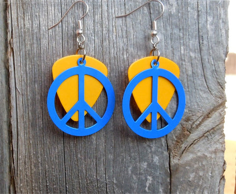 Large Blue Peace Sign Charm Guitar Pick Earrings - Pick Your Color