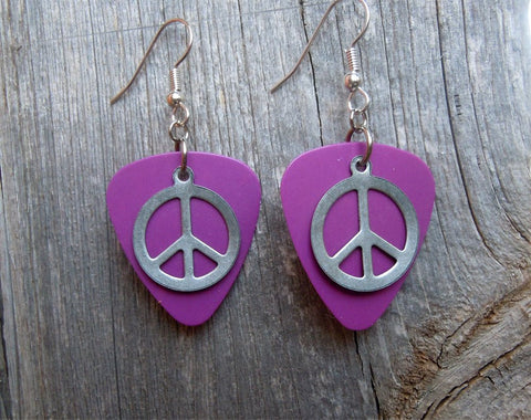Silver Peace Sign Charm Guitar Pick Earrings - Pick Your Color