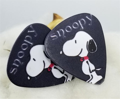 Snoopy on Black Guitar Pick Cufflinks