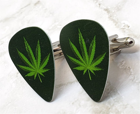 Pot Leaf Guitar Pick Cufflinks