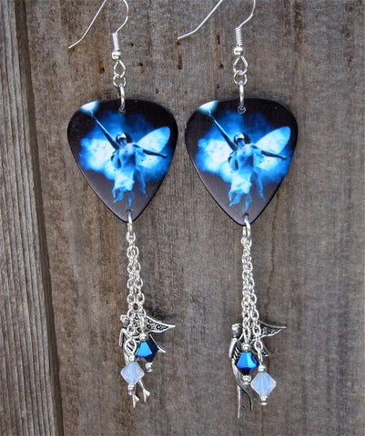 Fairy Woman Guitar Pick Earrings with Fairy Charm and Swarovski Crystal Dangles