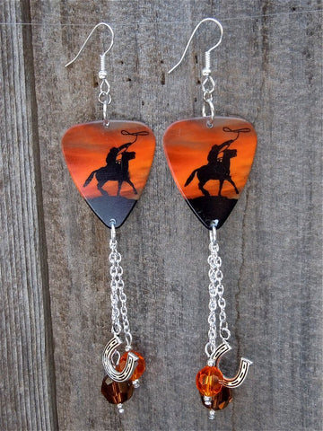 Cowboy on a Horse Guitar Pick Earrings with Crystal and Horseshoe Dangles