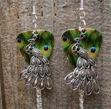 Peacock Charm Guitar Pick Earrings with Blue, Green and Aqua Swarovski Crystal Dangles