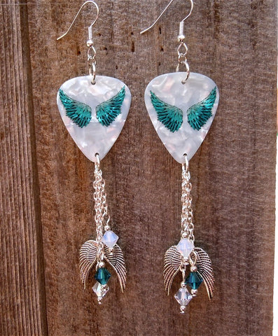 Teal Wings Guitar Pick Earrings with Silver Charm and Swarovski Crystal Dangles