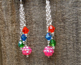 Colorful Happy Family Guitar Pick Earrings with Dangles