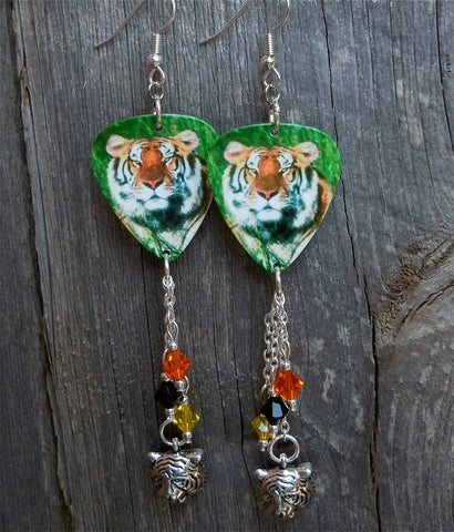 Tiger Guitar Pick Earrings with Tiger and Swarovski Crystal Dangles