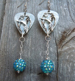 Hummingbird with White Guitar Pick Earrings with Teal Rhinestone Dangle