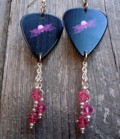 Pink Winged Skull Guitar Pick Earrings with Pink Swarovski Crystal Dangles
