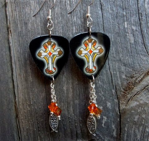 Black with Orange Crosses Guitar Pick Earrings with Dangles