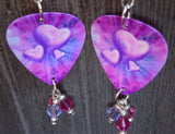 Pink and Purple Hearts Guitar Pick Earrings with Swarovski Crystal Dangles
