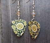 Tan Flowers on a Black Background Guitar Pick Earrings with Tan Swarovski Crystals