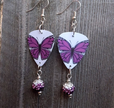 Purple Butterfly Guitar Pick Earrings with Purple Ombre Pave Bead Dangles