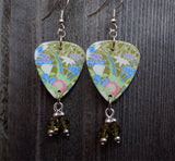 Flowerscape Guitar Pick Earrings with Olivine Swarovski Crystals