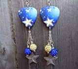 Yellow and Blue Star Guitar Pick Earrings with Pave Dangles