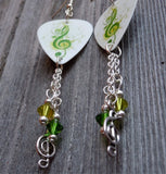 Green G Clef Guitar Pick Earrings with Swarovski Crystal Dangles