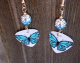Aqua Blue Butterfly Guitar Pick Earrings with Blue Ombre Pave Bead