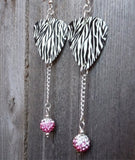 Zebra Patterned Guitar Pick Earrings with Pink Ombre Pave Bead Dangles