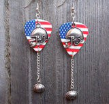 American Flag with Helmet Charms Guitar Pick Earrings with Football Dangles