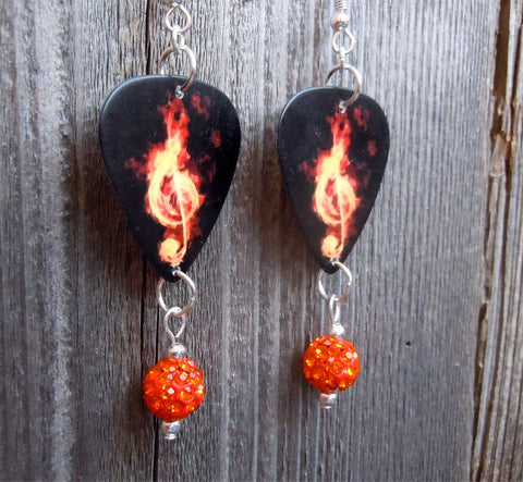 Clef Made of Flames Guitar Pick Earrings with Orange Pave Dangle