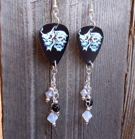 Skull Theater Mask Guitar Pick Earrings with Pave and Swarovski Crystal Dangles