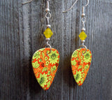 Yellow Flowers on an Orange Background Guitar Pick Earrings with Yellow Opal Swarovski Crystals