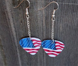 Dangling American Flag Guitar Pick Earrings