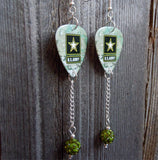 Army Camouflage Guitar Pick Earrings with Pave Bead Dangles