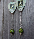 Army Emblem Camouflage Guitar Pick Earrings with Green Pave Bead Dangles