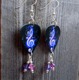 Purple Treble Guitar Pick Earrings with Swarovski Crystal Dangles