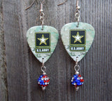 U.S. Army Ensignia Camo Guitar Pick Earrings with American Flag Pave Bead Dangles