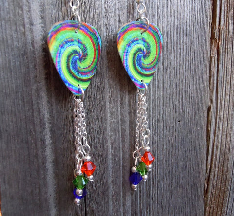 Swirling Tie Dye Guitar Pick Earrings with Swarovski Crystal Dangles